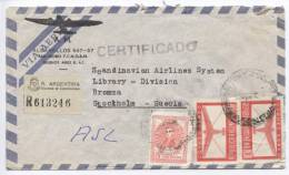 Argentina Registered Air Mail Cover Sent To Sweden 1952 - Airmail