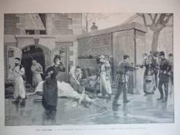Aux Abattoirs , Sacrificateurs Israélites Et Les Buveurs De Sang (juif ,Israel), Gravure Baude , Dessin De Bombled 1890 - Documenti Storici