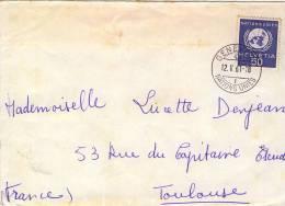 Lettre De Genéve Nations Unies Avec Timbre De Service N°YT 407 - Dienstpost