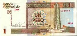 CUBA/KUBA 2011  BANCONOTA 1 PESO CONVERTIBILE FIOR DI STAMPA - Cuba