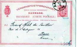CARTOLINA POSTALE-DANIMARCA-SPEDITA A PARIGI DA AALBORG-12-8-1889 - Briefe U. Dokumente