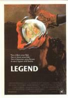 CINEMA CARTONCINO PUBBLICITARIO FILM -  LEGEND - RIDLEY SCOTT - DESCRIZIONE SUL RETRO - Cinema Advertisement
