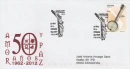 SPAIN. POSTMARK 50th ANNIV. BROTHERHOOD AMOR Y PAZ. GUADALAJARA 2012 - Marcophilie - EMA (Empreintes Machines)