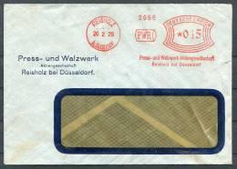 1929 Germany Reisholz Bei Dusseldorf PWR Freistempel Brief - Deutschland