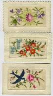3 Cartes Postales Anciennes Brodées : Hirondelle, Bonne Fête, Fleurs - Brodées