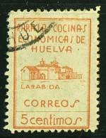 HUELVA  Para Las Cocinas Economicas  5 Cts  Naranja  Usado - Spanish Civil War Labels