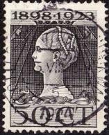1923 Jubileumzegel 50 Cent Zwart NVPH 128 H Met Kortebalkstempel ROTTERDAM 's-GRAVENDIJKWAL 5 - Poststempels/ Marcofilie