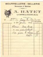 Facture Sellerie Bourrellerie A Hatet La Barre En Ouche Eure 27 1933 Cheval Selle Courroie Rènes - Transports