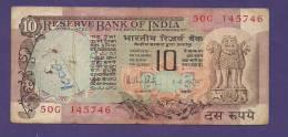 INDIA 1980,  Banknote, USED VF, 10 Rupees, Signed Malhotra,  Km 81g - India