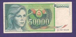 YUGOSLAVIA 1988,  Banknote , USED FINE, 50.000 Dinara, - Yugoslavia