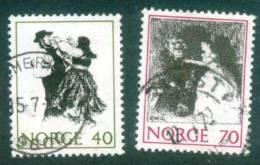 Norwegen  1971  Volksmärchen I  (2 Gest. (used))  Mi: 630, 632 (0,50 EUR) - Norvège