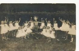 Carte Photo Danse Groupe De Petites Filles En Tutu - Dans