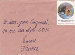 1998,  CENTRAFRIQUE,  LETTRE, BANGUI Pour La FRANCE ,  Yv 1481 DU BLOC DYSNEY 3, RARE Seul Sur Lettre/ 2652 - Zentralafrik. Republik