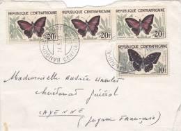 1963,  CENTRAFRIQUE,  LETTRE, BANGUI Pour La FRANCE CAYENNE ,  PAPILLON/ 2655 - Zentralafrik. Republik