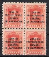 01630 Marruecos Edifil 88  En Bloque De 4 *  Cat. Eur. 248,- - Marruecos Español