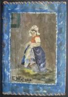 BuAut. 1. Couvre  Cahier En Cuir Peint Par E. Wagner De 1953. Peintre Originaire D'Ath. - Autres Collections