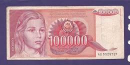 YUGOSLAVIA 1989,  Banknote , USED FINE, 100.000 Dinara, - Joegoslavië