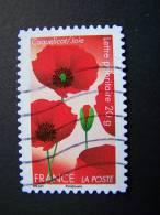 OBLITERE FRANCE ANNEE 2012 N° 672 SERIE DITES LE AVEC DES FLEURS LE COQUELICOT AUTOCOLLANT ADHESIF - France