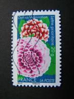OBLITERE FRANCE ANNEE 2012 N° 665 SERIE DITES LE AVEC DES FLEURS LE DAHLIA AUTOCOLLANT ADHESIF - France