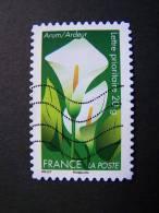 OBLITERE FRANCE ANNEE 2012 N° 668 SERIE DITES LE AVEC DES FLEURS L´ARUM AUTOCOLLANT ADHESIF - France