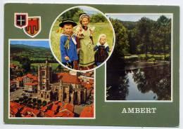 AMBERT---1980---Vues Diverses  (blason,enfants En Costumes)--cpsm N° 032  éd  Du Lys - Ambert