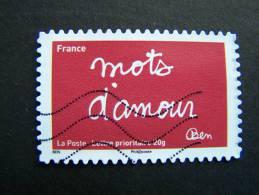 OBLITERE FRANCE 2011 N° 617 SERIE TIMBRES LES MOTS DE BEN BENJAMIN VAUTIER: MOTS D´AMOUR AUTOCOLLANT ADHESIF - France