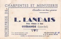 ¤¤  - GUERANDE  - Carte De Visite De L'Entreprise De Menuiserie Et Charpente L. LANDAIS    -  ¤¤ - Cartes De Visite