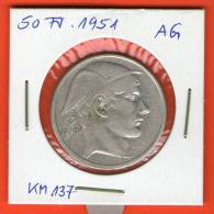 Bélgica / Belgien / Belgium / Belgique   *** 50 Frank / Francs 1951 BELGIE ***  Plata / Silver / Silber  KM# 137 - 05. 50 Francos