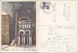 Croatia SPLIT Art Painted Signed Vladimir Kirin Katedrala Cathedral Old PC Us 1965 / 14925 - Croatie