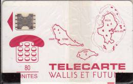 WALLIS Et FUTUNA - Cartes Des Iles, First Issue 80 Unites(rouge), Chip SC5, 07/91, Mint - Wallis And Futuna