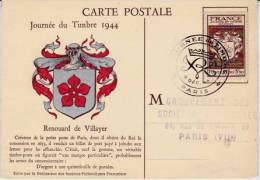 CARTE JOURNEE DU TIMBRE 1944  - CAD  PARIS --