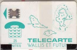 WALLIS Et FUTUNA - Cartes Des Iles, First Issue 25 Unites(vert), Chip SC5, 07/91, Mint - Wallis And Futuna