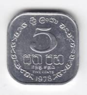 @Y@   Sri Lanka / Ceylon  5 Cents 1978 UNC   (C113) - Sri Lanka