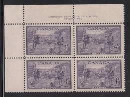 Canada MNH Scott #283 Plate #1 Upper Left Plate Block 4c Founding Of Halifax Bicentenary - Numeri Di Tavola E Bordi Di Foglio