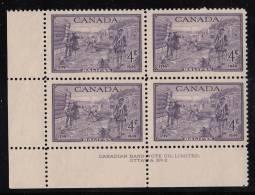 Canada MNH Scott #283 Plate #2 Lower Left Plate Block 4c Founding Of Halifax Bicentenary - Numeri Di Tavola E Bordi Di Foglio