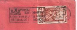 S. MARINO, TIMBRO POSTE ROMA TARGHETTA, SU BUSTA  VIAGGIATA  1953 PER FERRARA, - Holidays & Tourism
