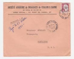 Marianne De Décaris Sur Enveloppe SA De Dragages De Chalon Sur Saône 1960 - Storia Postale