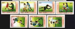 Vietnam MNH Sc 2008-14 IMPERFORATED Mi 2080-86 Imp Football Italia 90  1989 - Vietnam