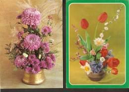 5k. FLORA - Flowers - Flower - Set Of 2 - Aster Dahlia Tulip Narcissus - Non Classés