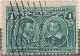 "Canada Scott #97- Plate Block(imprint) Broken ""É"" In Quebec And Vertical Hairline Between Champlain & Quebec 4 Scans - Lettres & Documents"