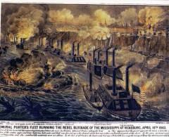 (404) Porters Fleet And Rebel On Mississippi River Blockade - Warships