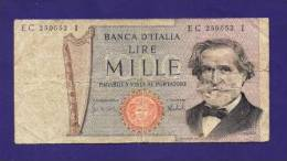 ITALY 1969, Banknote USED GOOD, 1.000 Lire G. Verdi Km75 - [ 2] 1946-… : Républic