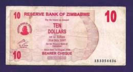 ZIMBABWE 2006, Banknote,  USED VF. 10 Zim Dollar - Zimbabwe