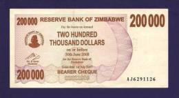 ZIMBABWE 2007 Banknote,  USED VF. 200.000  Zim Dollar - Zimbabwe