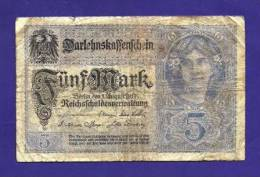 GERMANY 1917, Banknote,  USED VG. 5 Mark Km56 - [ 2] 1871-1918 : German Empire