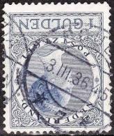 1926-1927 Koningin Wilhelmina Veth 1 Gulden Blauw Lijntanding 12½ NVPH 163 B Met Afstempeling GOUDA 7 - Poststempels/ Marcofilie