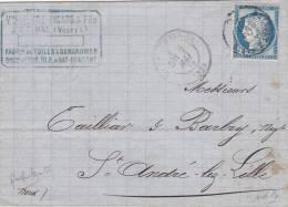 AMBULANT, 1876, BELFORT à EPINAL Pour St ANDRE LEZ LILLE/2671 - Marcophilie (Lettres)