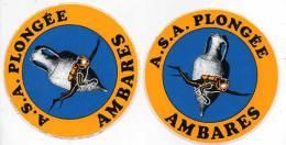Autocollant Sport Plongée - ASA Plongée Ambarés (x2) - Stickers