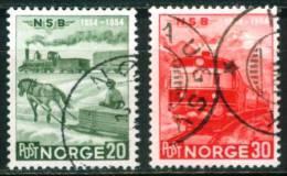 Norwegen  1954  100 Jahre Norwegische Eisenbahn  (2 Gest. (used))  Mi: 384-85 (1,00 EUR) - Oblitérés