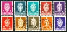 Norwegen  1955  Dienstmarken - Staatswappen  (10 Gest. (used))  Mi: 68-69, 71, 74-77, 79, 82-83 (2,60 EUR) - Service